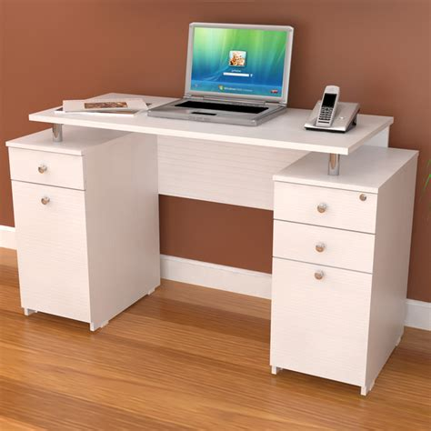 simple desk with drawers inval white modern straight computer writing desk with