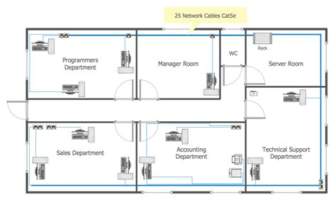 floor plan blueprint conceptdraw sles computer and networks