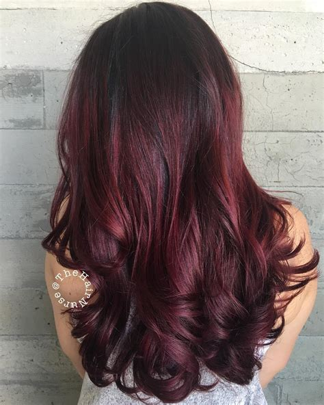 Dark Burgundy Red Hair with Highlights