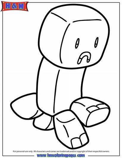 Creeper Minecraft Coloring Pages Herobrine Drawing Cartoon
