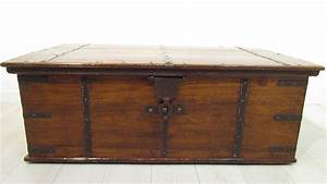 a large antique 18th c iron bound teak coffer trunk coffee With oversized trunk coffee table