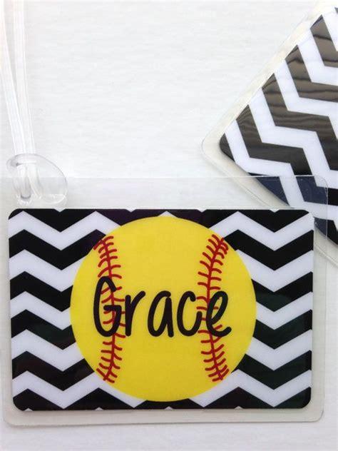 monogram softball bag tag softball mom bag tag  toddletags  softball bag tags