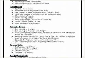 Fresher Resume Format For Manual Testing Fresher Resume