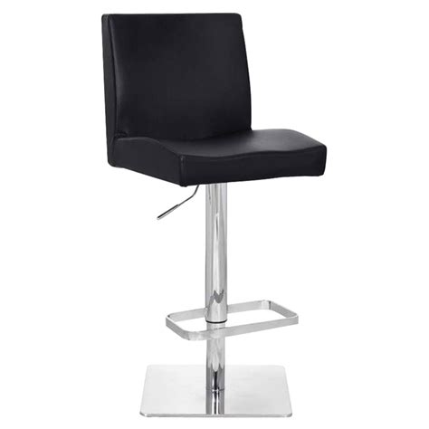 Black Looking Stool by Chicago Bar Stool Black Leather Look Adjustable Height