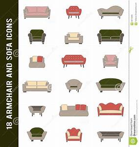 Vector Sofa And Armchair Icons In Retro Colors Stock