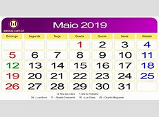Calendário de Maio de 2019 webcid