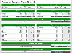 Document Templates 3 Free Spreadsheet BiWeekly Budget