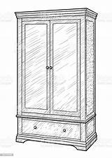 Wardrobe Drawing Line Vector Antique Engraving Ink Cabinet Hungary sketch template