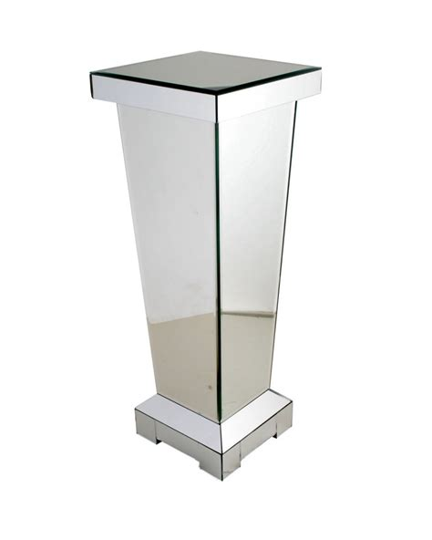 mirror pedestal stand 60 cm mirrored pedestal side l table plant stand