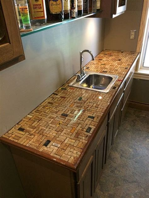 Cork countertop covered with Ultra Clear Epoxy   Bars