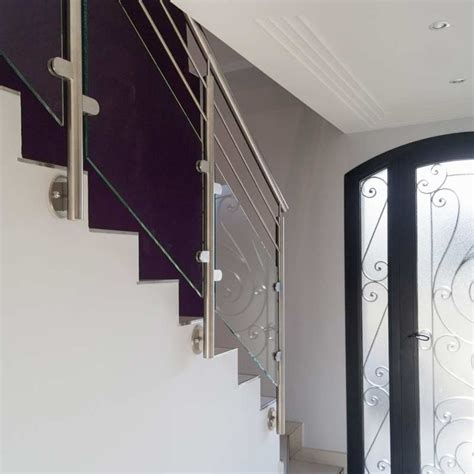 balustrade escalier ext 233 rieur verre et 2 barres inoxdesign