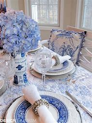 Blue and White Christmas Table Setting