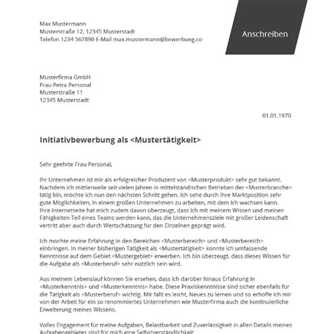 Initiativbewerbung Muster Kostenlos by Initiativbewerbung Muster Bewerbung Co