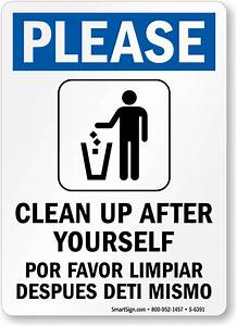bilingual please clean up after yourself sign best With clean the bathroom in spanish