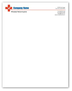 health check medical supply letterhead letter size