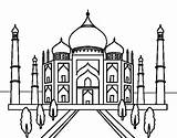Mahal Taj Coloring Drawing Pages Colouring India Buildings Wonders Line Building Coloringcrew Cultures Doodle sketch template