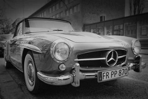 Vintage Mercedes Car Black White Free Stock Photo