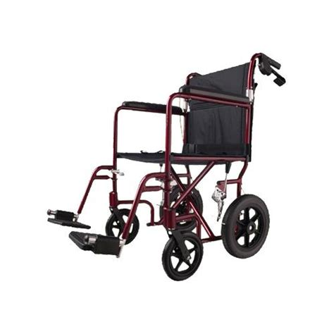 medline basic aluminum transport chair with 12 inch wheels transporters