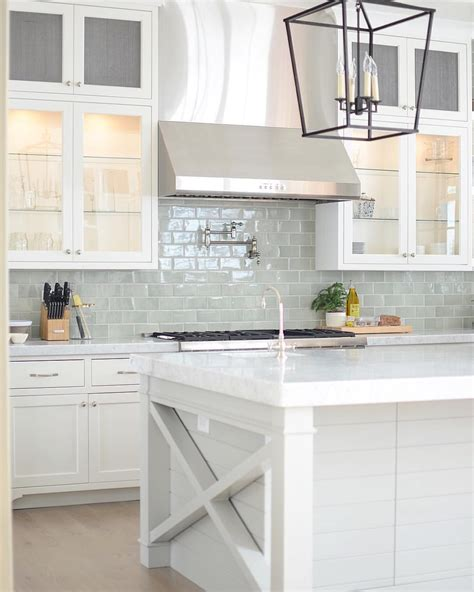 White Kitchen Backsplashes by Bright White Kitchen With Pale Blue Subway Tile Backsplash