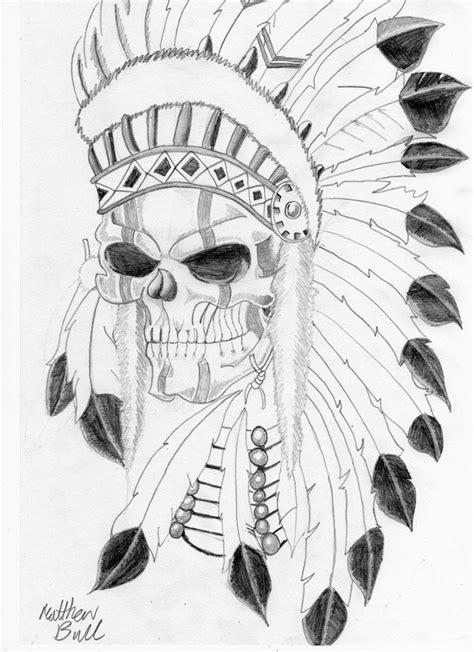 Tattoo Art   native indian skull tattoo by weemattyb designs interfaces tattoo   Indian