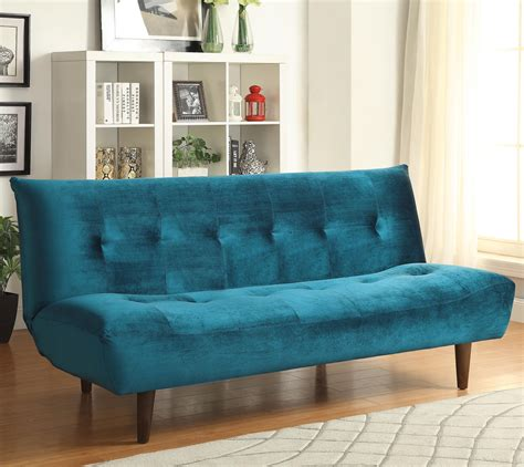 Sofa Beds And Futons  Teal Velvet Sofa Bed With Solid