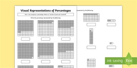 year 5 visual representations of percentages differentiated