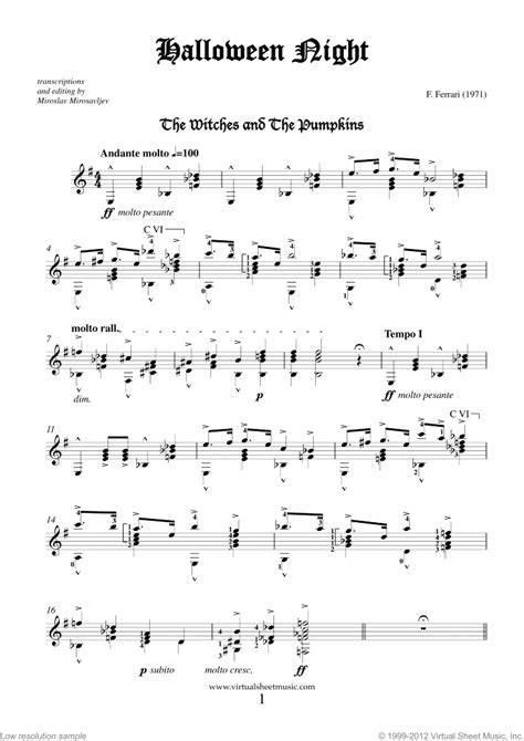 Easy to intermediate levels 1, 2, 3, and 4. Halloween Sheet Music for guitar solo PDF-interactive