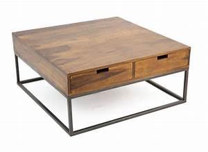 Table Basse Carrée En Bois : au design industriel la table basse en bois et fer s ~ Teatrodelosmanantiales.com Idées de Décoration