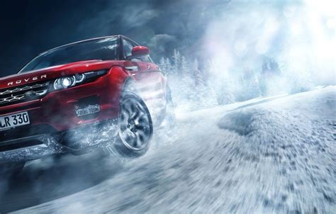 wallpaper red land rover range rover car front snow