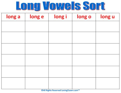 Long Vowels Sort