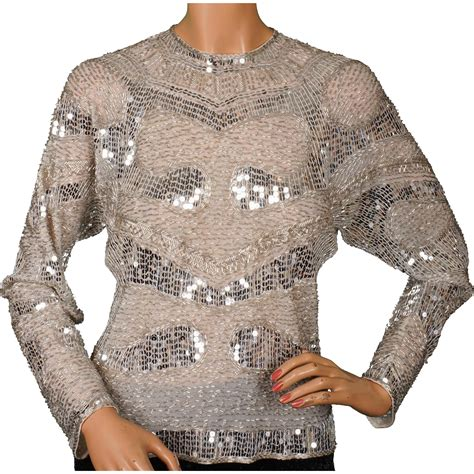 silver sequin l shade vintage 1970s halston silver sequin beaded top s from