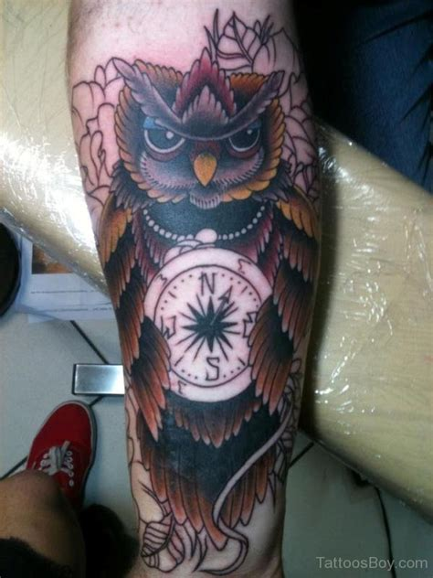 nice owl compass tattoos