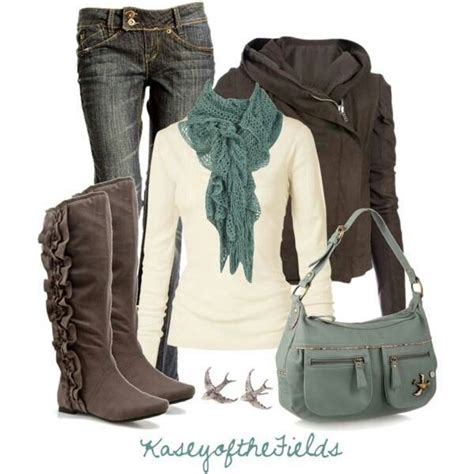 jeans grey brown boots  jacket grey purse