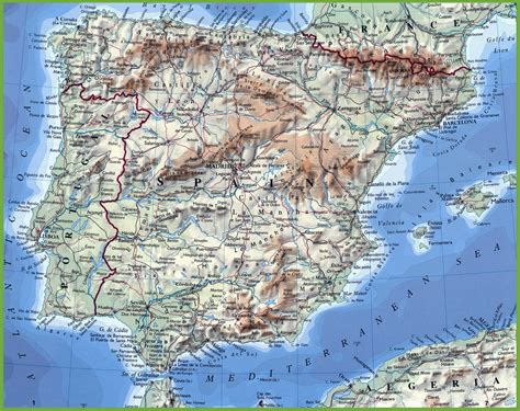 Carte Portugal Espagne by Physical Map Of Portugal And Spain