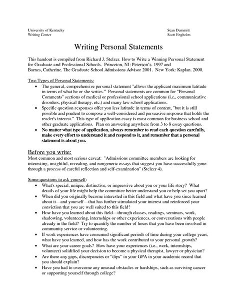 Professional Phd Personal Statement Exle by Sle Personal Statements Graduate School How To Write