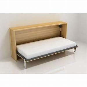Lit Dans Armoire : armoire lit escamotable stone 1 place 90x200 chene achat ~ Premium-room.com Idées de Décoration