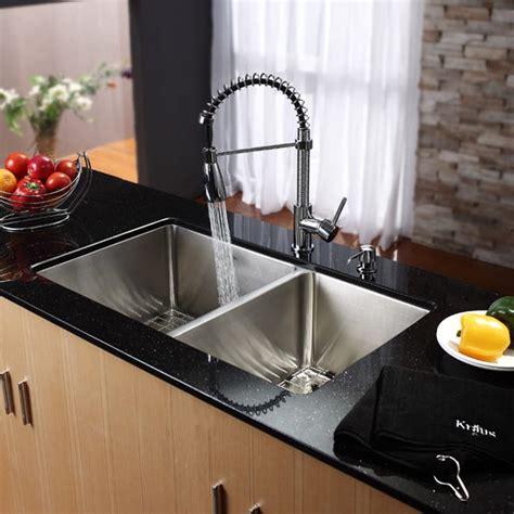 ada undermount kitchen sink kraus khu10333kpf1612ksd30ch 33 inch undermount 3986