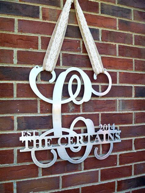 established monogram door sign metal door hanger door wreath family   sign wedding