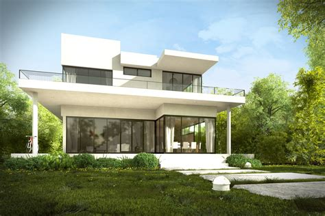 house with garden 3d modern house garden trees plants