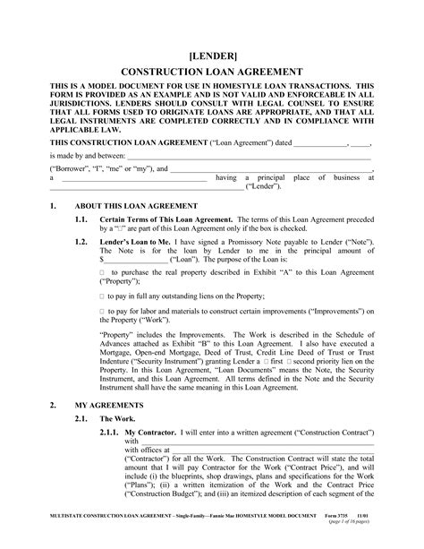 construction loan agreement form templates