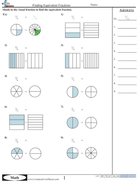 equivalent fractions of shapes worksheets search results