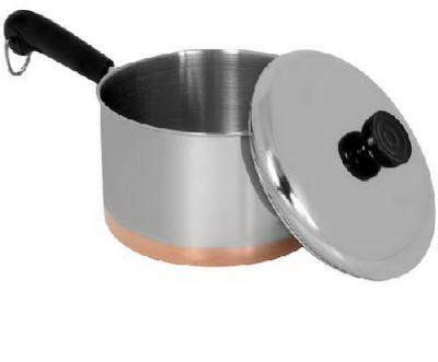 world kitchen  revere  qt stainless steel covered saucepan  copper bottom saucepan