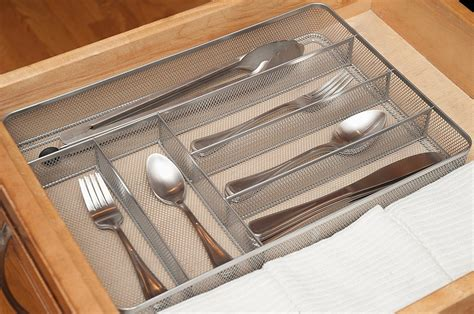 silverware organizer drawer trays organizers flatware mesh tray divider kd slot kitchen dividers organized metal silver holder keeps neatly drawers