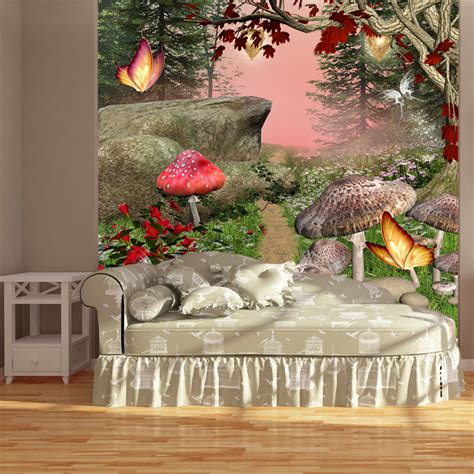 enchanted forest wall mural red butterfly trees photo