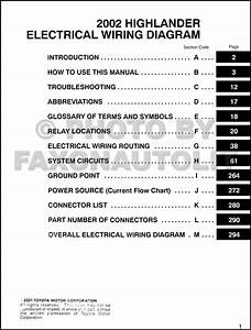 2002 Toyota Highlander Wiring Diagram Manual Original