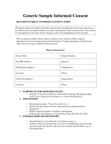 Generic Consent Form Template by Informed Consent In