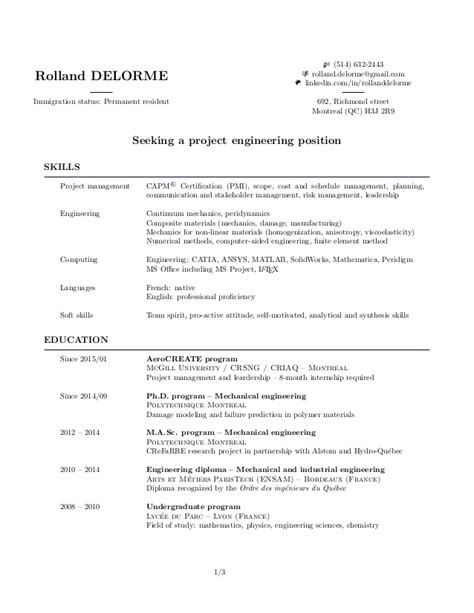 Resume Residency Status by My Resume Rolland Delorme
