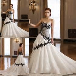 cheap white wedding dresses cheap black and white wedding dresses a line strapless lace appliques ruched chapel