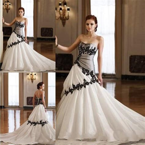 cheap black and white gothic wedding dresses a line