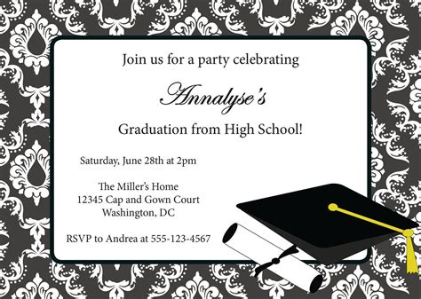 sample invitation card  graduation party